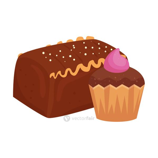 cake chocolate with cupcake isolated icon