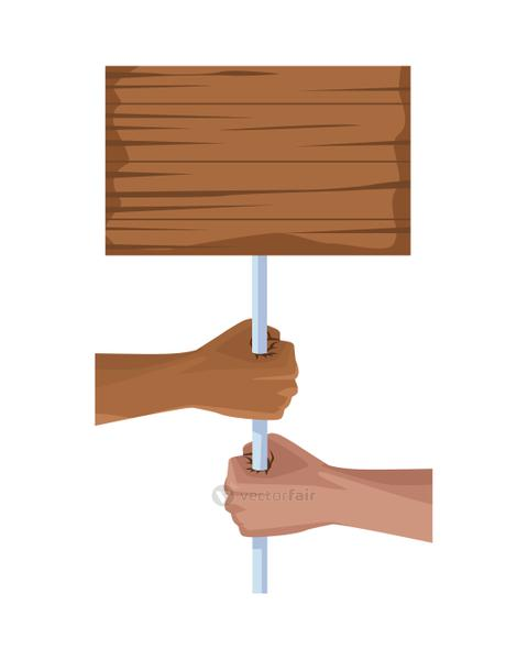 interracial hands human with wooden label