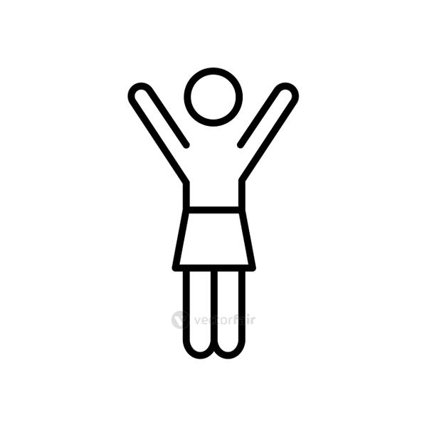 pictogram woman with arms up, line style