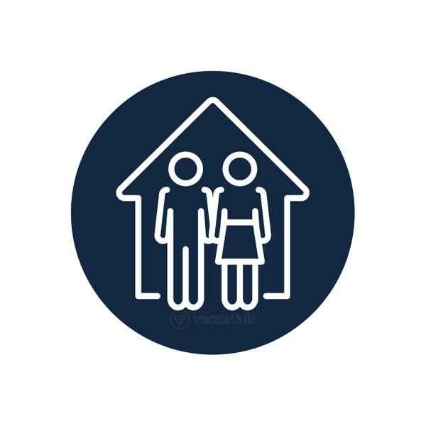 pictogram couple in the house icon, line block style