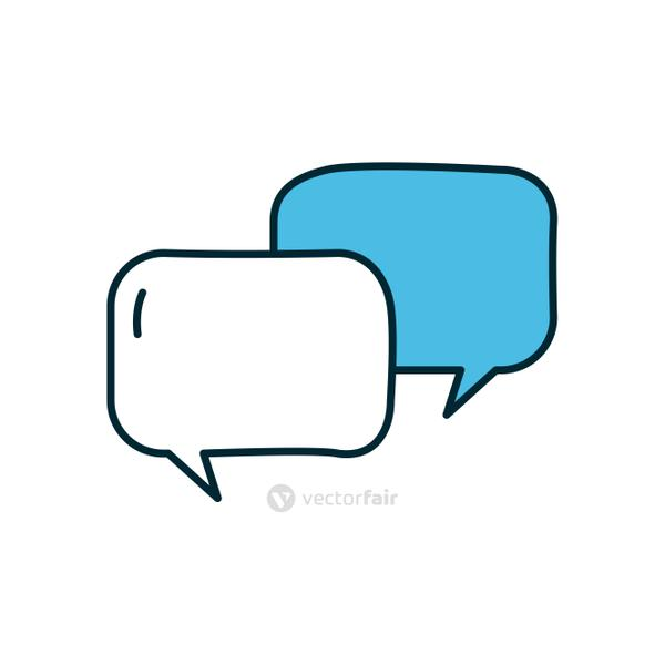 speech bubbles icon, line and fill style