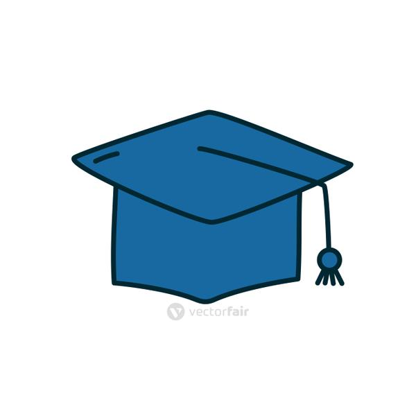 graduation cap icon, line and fill style
