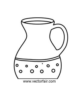 teapot of pottery decorative line style icon