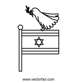 flag israel and bird with branch line style