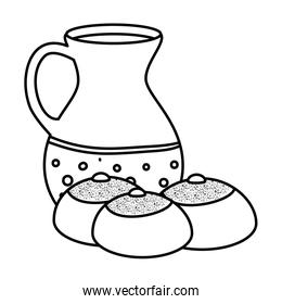 teapot of pottery with breads line style icon