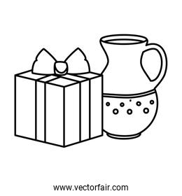 teapot with gift box present line style icon