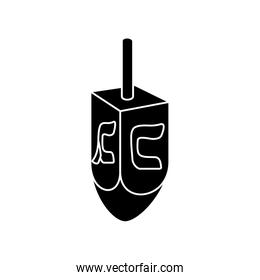 silhouette of dreidel game traditional isolated icon