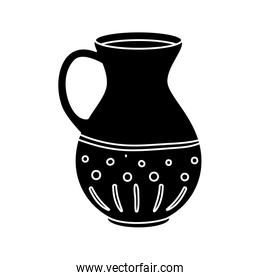 silhouette teapot of pottery decorative isolated icon