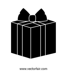 silhouette of gift box present isolated icon