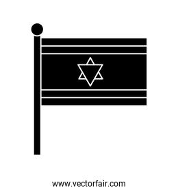 silhouette of flag israel patriotic isolated icon