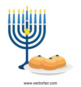chandelier with candles and bread isolated icon