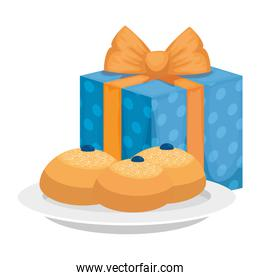 gift box present with breads isolated icon