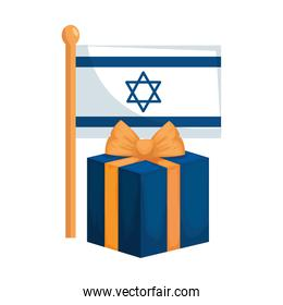flag israel with gift box isolated icon