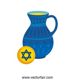 teapot of pottery decorative with star david