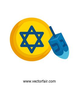 dreidel game with star david isolated icon