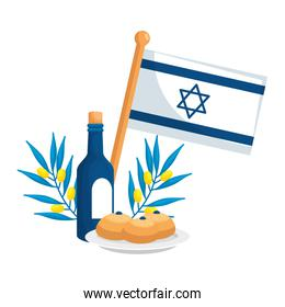 flag israel with wine and icons