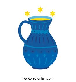 isolated teapot of pottery decorative with stars david