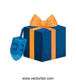 dreidel game with gift box isolated icon