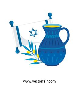 flag israel with kitchen and olive branch
