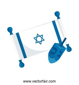 dreidel game with flag israel isolated icon