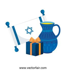 flag israel with gift box and teapot isolated icon