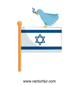 flag israel and bird with branch isolated icon