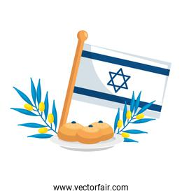 flag israel with bread and branches