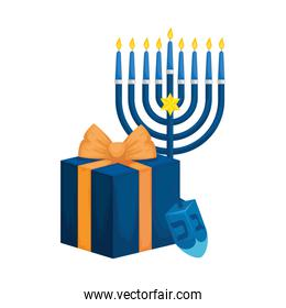 dreidel game with gift box and chandelier