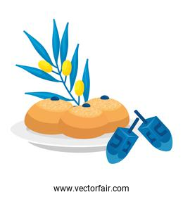 dreidel game with bread and olive branch