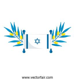 flag israel with branches and leafs isolated icon