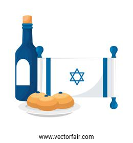 wine bottle with flag israel and breads