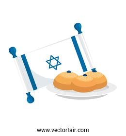 flag israel with bread isolated icon