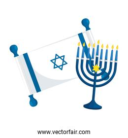 flag israel and chandelier with candles
