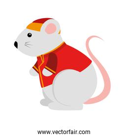 cute rodent rat with chinese clothes
