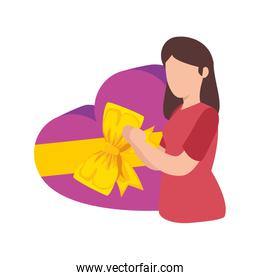 woman and gift in heart shape isolated icon