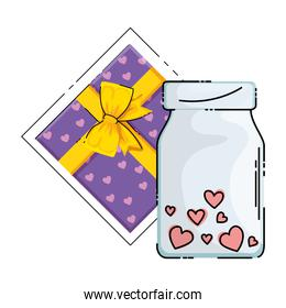 gift and bottle with hearts isolated icon