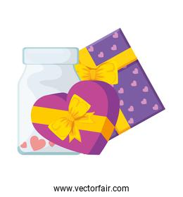 gifts and bottle with hearts isolated icon