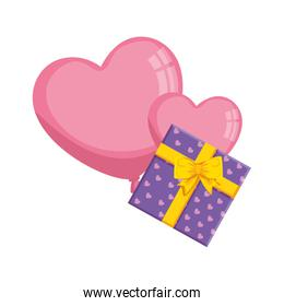 gift box with balloons helium in shape heart