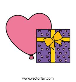 gift box with balloon helium in shape heart
