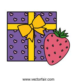 gift box with strawberry isolated icon