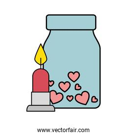 candle light and bottle with hearts isolated icon