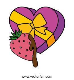 gift in heart shape with strawberry isolated icon