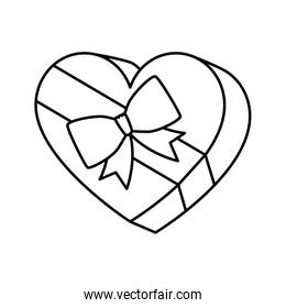 gift in heart shape isolated icon
