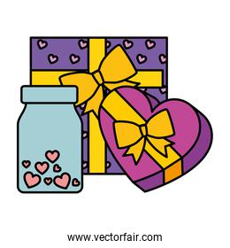 gift boxes and bottle with hearts isolated icon