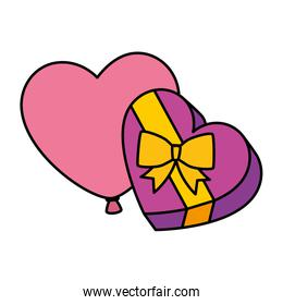 gift in heart shape with balloon air helium isolated icon