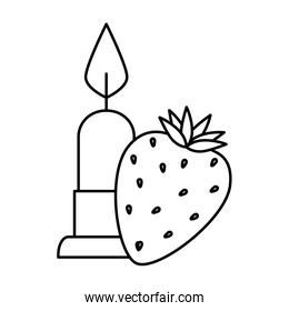 candle light with strawberry isolated icon