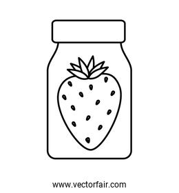 strawberry fruit in bottle isolated icon