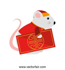 pretty rodent rat with chinese card