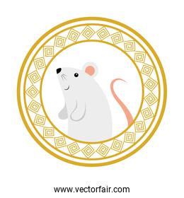 cute rodent rat with frame circular chinese