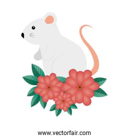 cute rodent rat with flowers isolated icon